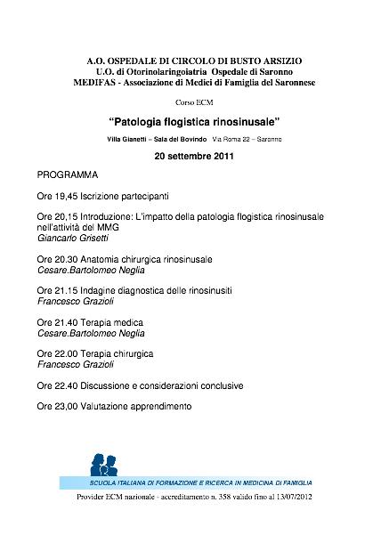 patologia flogistica rinosinusale